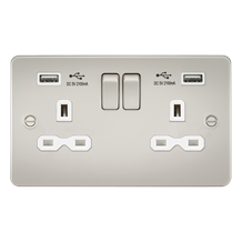 Flat plate 13A 2G switched socket with dual USB charger (2.1A) - pearl with whit