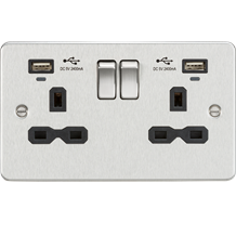 Flat plate 13A Smart 2G switched socket with USB chargers (2.4A) - Brushed Chrom