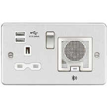 Flat Plate 13A socket, USB chargers (2.4A) and Bluetooth Speaker - Brushed chrom