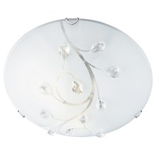 Frosted Glass Round Flush Light With Crystal Leaf Decoration