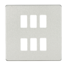 GDSF006BC Screwless 6G grid faceplate - brushed chrome