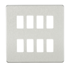 GDSF008BC Screwless 8G grid faceplate - brushed chrome