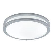 Grey Flourescent Twin Tube Flush Light With Opal Glass Diffuser