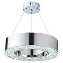 Halo Chrome Led Pendant Light With Clear Crystal Decoration