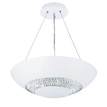 Halo White 8 Light Pendant With Clear Crystal Glass Circular Band