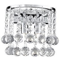 Hanna Chrome 2 Light Round Wall Bracket With Clear Crystal Balls
