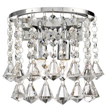 Hanna Chrome 2 Light Round Wall Bracket With Diamond Shape Crystals