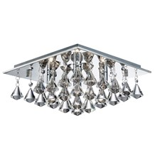 Hanna Chrome 4 Light Ceiling Fitting With Clear Crystal Drops