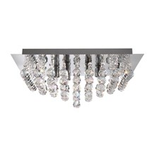 Hanna Chrome 4 Light Square Semi-flush With Clear Crystal Balls