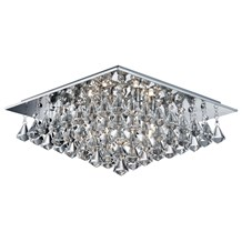Hanna Chrome 6 Light Ceiling Fitting With Clear Crystal Drops