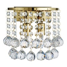 Hanna Gold 2 Light Round Wall Bracket With Clear Crystal Balls