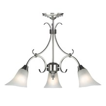 Hardwick Antique Silver Effect Frosted Glass Shade 3 Light Pendant Endon 144-3AS
