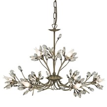 Hibiscus Antique Brass 9 Light Fitting With Crystal Petals