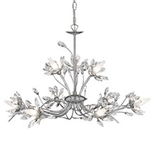 Hibiscus Chrome 9 Light Fitting With Crystal Petals