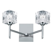 Ice Cube Satin Silver 2 Light Wall Bracket With Moulded Ice Cube Glass