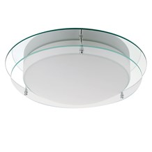 Ip44 Chrome Flush Fitting With Mirror Backplate And Opal Glass