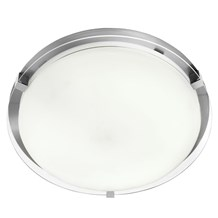 Ip44 Satin Silver Flush Fitting With Glass Shade