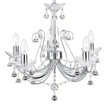 Lafayette Chrome 5 Light Chandelier With Crystal Column & Buttons