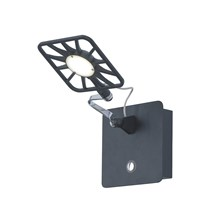 Led Adjustable Square Head Black Wall Light With Illuminated Switch