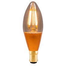 4W LED Vintage Candle Dimmable - SBC, Amber, 2000K