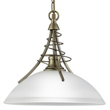 Linea Antique Brass Pendant Light With Twist Centre & Dome Opal Glass