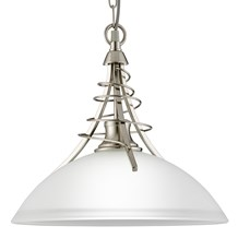 Linea Satin Silver Pendant Light With Twist Centre & Dome Opal Glass