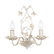 Lullaby Cream Flower Detailed 2 Light Wall Bracket Endon LULLABY-2WBCR