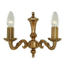 Malaga Solid Brass 2 Light Wall Bracket With Metal Candle Tubes