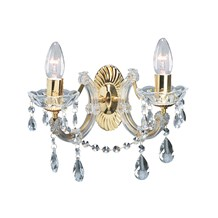 Marie Therese Polished Brass 2 Light Wall Bracket With Crystal Drops