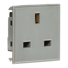 NET13GY 13A 1G unswitched socket module 50 x 50mm - Grey