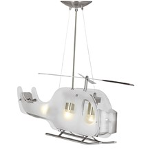 Novelty Satin Silver Helicopter Light With Frosted Glass
