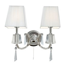 Portico Chrome 2 Light Wall Bracket With Crystal Drops & White String Shades