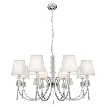 Portico Chrome 8 Light Fitting With Crystal Drops & White String Shades