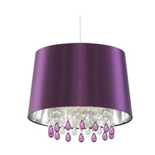 Purple Pendant Light With Faux Silk Shade & Peardrop Acrylic Beads