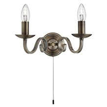 Richmond Antique Brass 2 Light Wall Bracket With Candle Style Sconces
