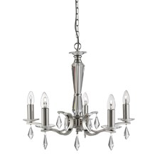 Royale Satin Silver 5 Light Ceiling Fitting With Hexagonal Glass Sconces