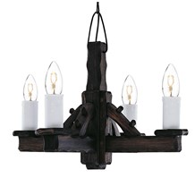 Rustic Wooden Hand Made 4 Light Fitting With White Candle Style Shades