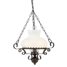 Rustic Wrought Iron Oil Lantern With Opal Glass Diffuser