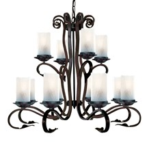 Scroll Rustic Iron 12 Light Fitting With White Crackle Glasses