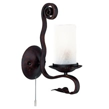 Scroll Rustic Iron Wall Light With White Crackle Glasses