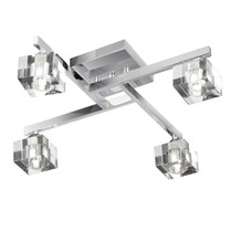 Sculptured Ice Chrome 4 Light Semi-flush With Clear Cube Glass