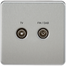 SF0160BC Screwless Screened Diplex Outlet (TV & FM DAB) - Brushed Chrome