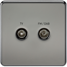 SF0160BN Screwless Screened Diplex Outlet (TV & FM DAB) - Black Nickel