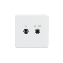 SF0160MW Screwless screened diplex outlet (TV and FM/DAB) - Matt white