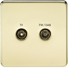 SF0160PB Screwless Screened Diplex Outlet (TV & FM DAB) - Polished Brass