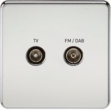SF0160PC Screwless Screened Diplex Outlet (TV & FM DAB) - Polished Chrome