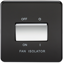 SF1100MB Screwless 10AX 3 Pole Fan Isolator Switch - Matt Black with Chrome Rock