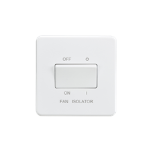 SF1100MW Screwless 10AX 3 pole fan isolator switch - Matt white