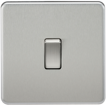 Screwless 10A 1G 2-Way Switch - Brushed Chrome
