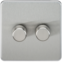 SF2182BC Screwless 2G 2-way 10-200W (5-150W LED) trailing edge dimmer - Brushed